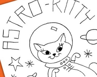 Astro Kitty Embroidery Pattern
