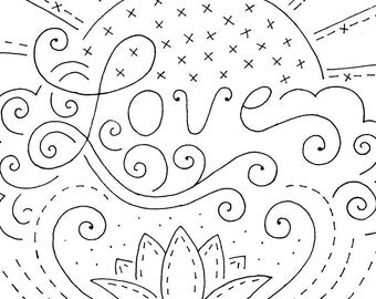 Embroidery Pattern Love Sunrise with Flower