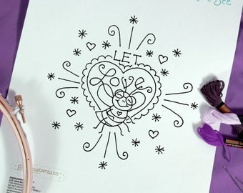 Embroidery Pattern Bee Love Hearts
