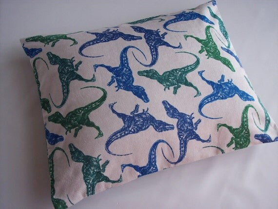 The Perfect Toddler Pillow ... Dinosaurs in blue and green ... Original Design by Sew Cinnamon