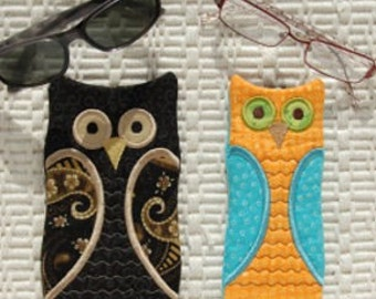 In the Hoop Owl Glasses Cases Machine Embroidery Design Files Instant Download