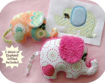 In the Hoop Elephant Softie Toys & Matching Applique Machine Embroidery Files Instant Download