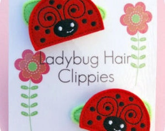 In the Hoop Ladybug Feltie Hair Clippie Machine Embroidery Files Instant Download