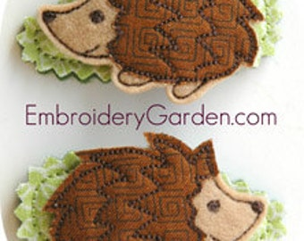 Hedgehog Hair Clippies Machine Embroidery Design Instant Download