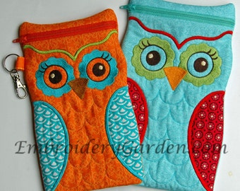 In the Hoop Large Owl Cases Machine Embroidery Design File Instant Download