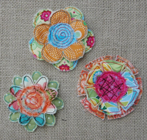 Frayed & Layered Flowers Machine Embroidery Design Files