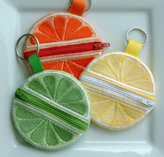 Citrus Coin Pouch Key Ring Machine Embroidery Design File