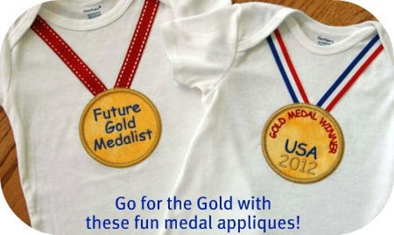 Olympic Gold Medals Applique Machine Embroidery Design Files