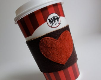 Leather Heart Cup Cozy