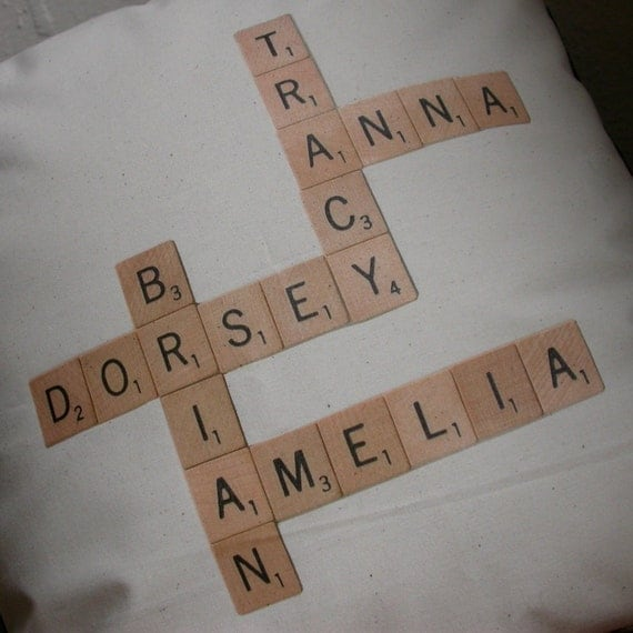 Scrabble Tile Family Pillow