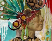 SALE!! native american headdress art print