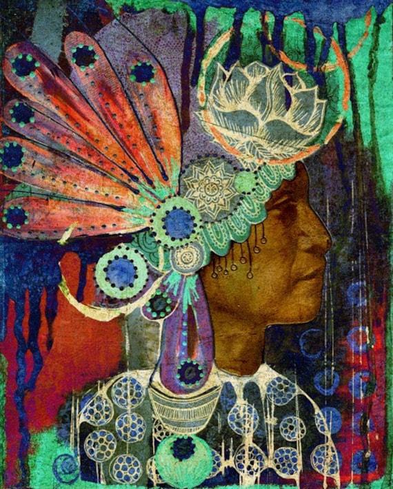 Warriors Of The Rainbow Tribe: Items Similar To SALE!! Native American Headdress Art
