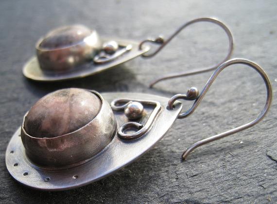 Artisan Handmade Leopardskin Jasper and Sterling Silver Earrings pink gemstone earrings rustic organic dangle earrings