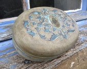 Antique Handpainted  silk case adorned with motherofpearl lock