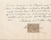 1880s French handwritten letter with stamp paper ephemera