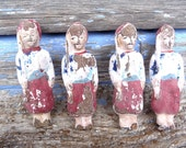 1900 Antique toy French composition toy paper mache soldiers set of 4