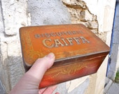 Antique French 1930 Caiffa tin box biscuit box orange and gold