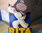 French Vintage cardboard advertisment for Rita cakes original 1950