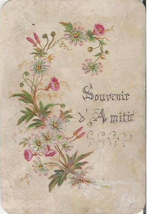 Antique 1900s Carte d'amitie with handpainted flowers on cellulloid card
