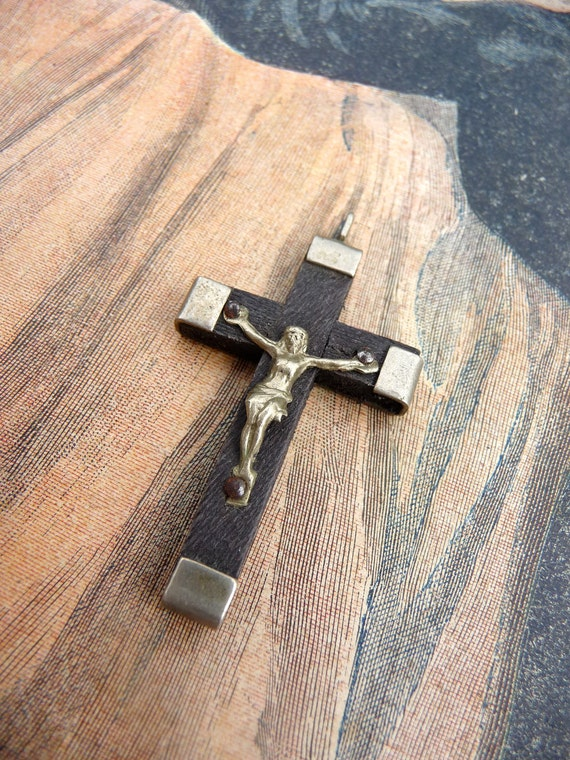 Cross pendant french religious wood and silvered metal  1930s