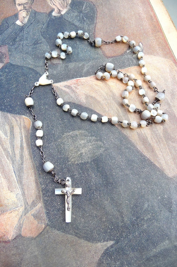 Mother of pearl rosary French  Antique 1900  dizainier christianity first communion