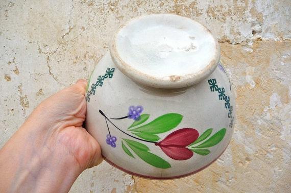 Antique 1900s  French cafe au lait bowl floral bouquets big size