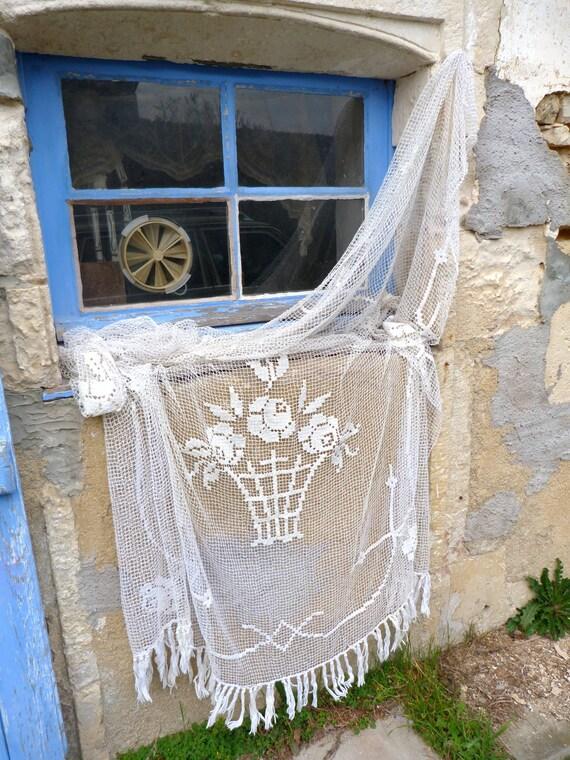 "1900/1930 French crochet filet curtain white cotton floral art deco  78"" x 78"""