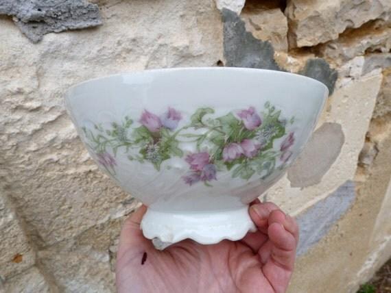 Reserverd reserverd reserverd  French Huge cafe au lait bowl floral porcelaine