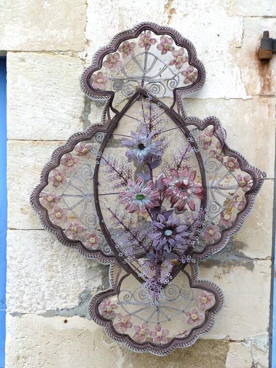RESERVERD RESERVERD RESERVERD Antique french beaded wreath funerary beadwork flowers gothic mourning