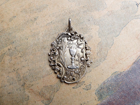 Reserverd reserverd reserved Antique 1900 Victorian first communion silver Eucharistic medal chalice