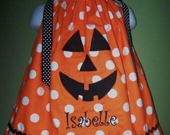 Personalized Halloween Pumpkin Pillowcase Dress Outfit Costume-- FREE monogramming