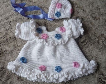 Baby Crochet Pattern Dress and Bonnet Crochet Pattern DIGITAL DOWNLOAD 135