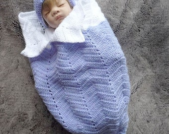 CROCHET PATTERN For Ripple Baby  Cocoon, Papoose & Hat in 3 Sizes PDF 144