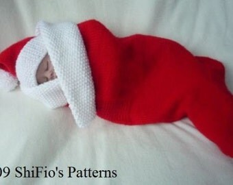 KNITTING PATTERN For Baby Stocking Papoose, Cocoon & Hat in 2 Sizes PDF 129 Digital Download