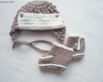CROCHET PATTERN For Trapper Earflap Hat & Boots in 3 Sizes PDF 166  Digital Download