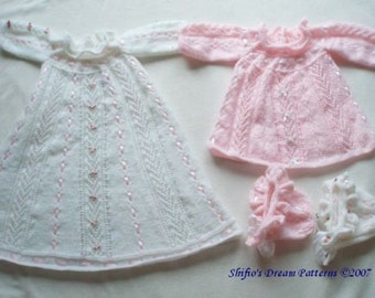 KNITTING PATTERN For Sirena Christening Dress, Dress, Bonnet PDF 67 Digital Download