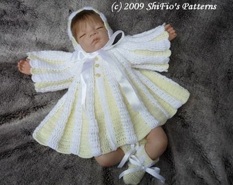 CROCHET PATTERN For Pleated Matinee Jacket, Bonnet & Booties PDF 104 Digital Download