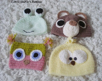 CROCHET PATTERN For Childrens Animal Hat Beanie, Owl Hat, Bear, Chick, Frog in 5 Sizes PDF 171  Digital Download