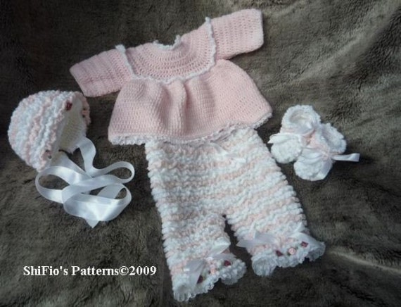 Crochet Baby Bonnet And Booties Pattern : CROCHET PATTERN For Baby Ruffled Pants Angel Top Bonnet by ...