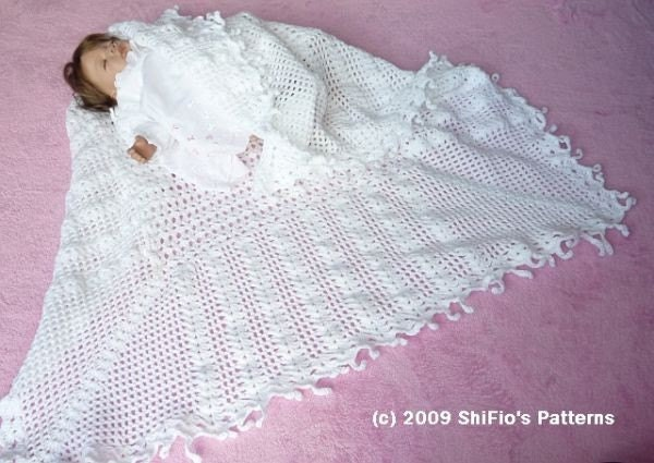 Free Knitting Pattern Baby Christening Shawl : CROCHET PATTERN For Baby Christening Shawl Blanket / Afghan