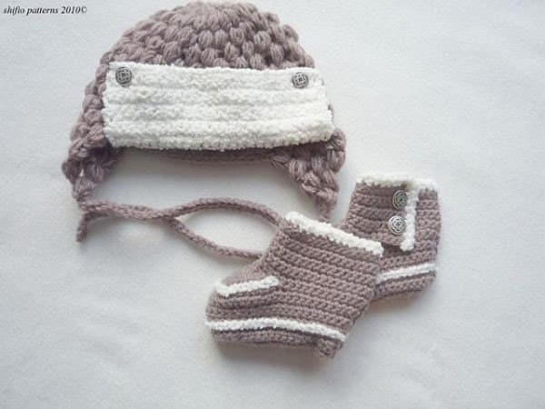 Baby Crochet Pattern Trapper Hat Boots Crochet Pattern 3 ...