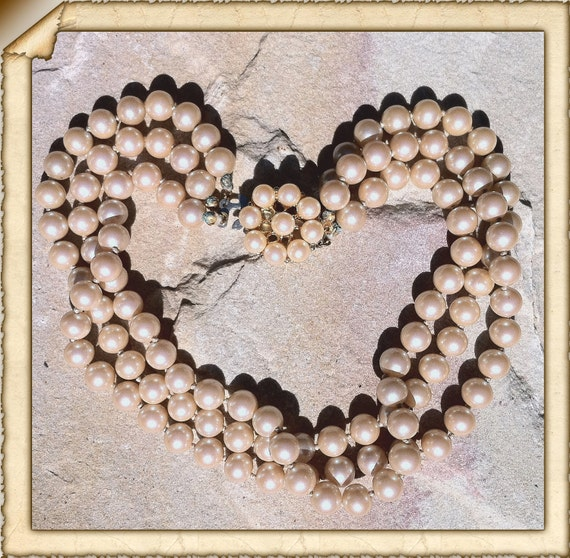 Vintage Art Deco 1930s - 1940s Glass Faux Pearls Triple Strand Choker Necklace - Deep Rich Cream - Gold Tone Fittings.