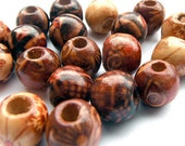 Wood 9mm Patterned Round Beads x20