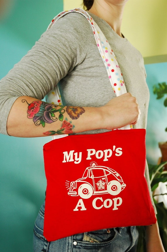 My Pops A Cop Vintage Recycled T Shirt Tote Bag