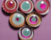 Sunburst Magnet Set  pink, orange, blue
