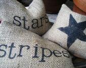 Patriotic Pillowettes of Burlap
