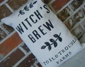 Elegant Halloween Collection Burlap Witchs Brew Grain Sack Pillow