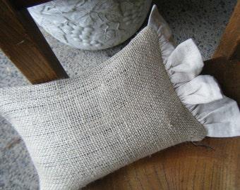 Burlap Pillow with Osnaburg Ruffle