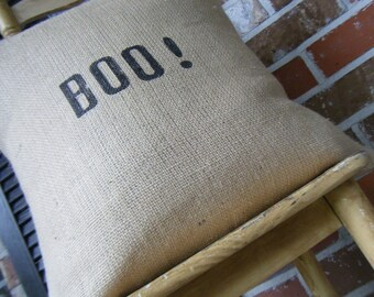Elegant Halloween Collection Baby B O O Typography Burlap Pillow Slip Cover