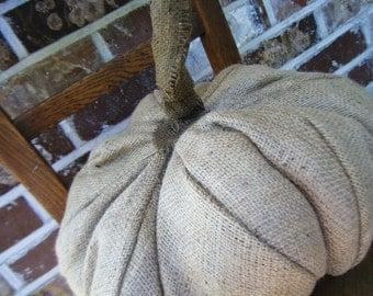 Autumnal Arts Series Burlap Pumpkin Pillow